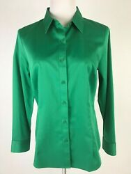 New Coldwater Creek L/s Button Front No Iron Cotton Shirt- S 8 Emerald Green