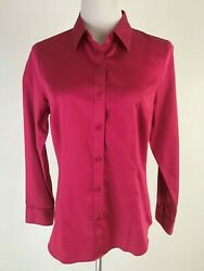 New Coldwater Creek L/s Button Front No Iron Cotton Shirt - S 8 Dark Pink