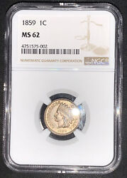 1859 Ngc Ms62 Copper Nickel Indian Cent