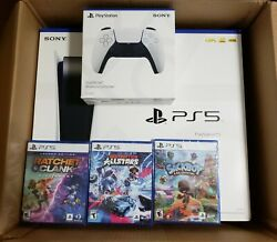 Ps5 Sony Playstation 5 Console Disc Version Bundle Three Games, Controller New