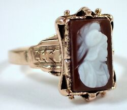 Antique Victorian 2.6g Solid 14k Rose Gold Etruscan Hard Stone Cameo Ring Sz 4.5