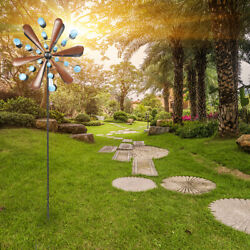 7ft Wind Direction Wrought Iron Windmill Copper Leaf Blue Dots Garden Yard Decor