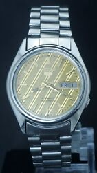 Vintage Seiko 5 Men 21j Automatic Cal.7019 Day/date Full Steeliness Steel Watch