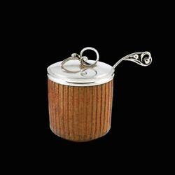 Arne Bang 1901 - 1983. Stoneware Jar With Silver Lid And Spoon.