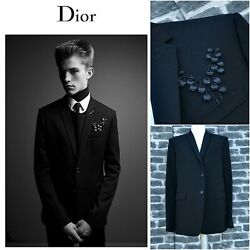 Gorgeous Dior Homme Ss18 Glass And Leather Embroidery Embellished Wool Blazer
