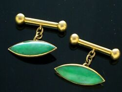 Antique Chinese 18k Gold And Apple Green Jade Cufflinks Signed