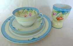 Noritake China Breakfast Set Teacup, Saucer, Plate And Egg Cup Floral W Blue Trim