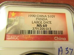 China 1990 Ms69 Large Date S10y Panda Ngc-3791206-013 A37