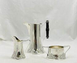 Antique Hartford Connecticut Barbour Three Piece Sterling Silver Tea/coffee Set