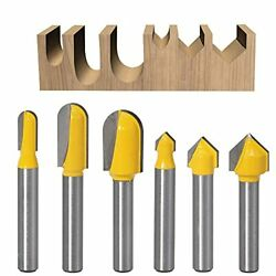 6 Pieces Cnc Wood Carving Router Bit Set With 1/4 Shank 90 Degree V Groove R...