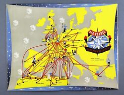 Air France Vintage Airline Brochure Languedoc Dc-4 Constellation Route Map 1952