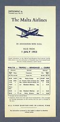 The Malta Airlines Airline Timetable 1 July 1953