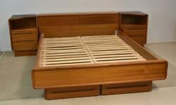 Teak Queen Size Platform Floating Bed With Side Stands 81 Series