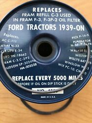 Allstate Oil Filter Refill No.4559 Nos Ford Tractors 1939 And Up 1930's-1950's