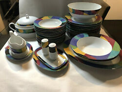 Vintage Currents By Mikasa 35-piece Dinner Set For 6 M5101 W/ Rare Serving Bowl