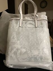Michael Kors quot;The Michael Bag quot; Tote Bag Clear White Leather New with Tag $107.00