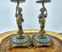 Pair Of 8 Antique French Champleve Cloisonne Figures - Candle Sticks