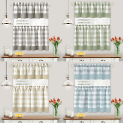 Modern Farmhouse 3 Pc Plaid Kitchen Curtain Tier And Valance Set - Assorted Colors