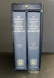 Compact Edition Of Oxford English Dictionary - 2 Volumes And Magnifying Glass /rad