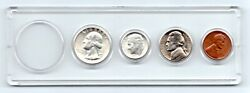 1956 D Us Mint Unc Silver Coin Set Quarter,dime, Nickel, Penny In Plastic Holder