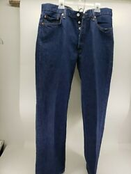 Levi's 501button Fly High Waisted Denim Jeans Size 36x32 New Dark Blue Selveged