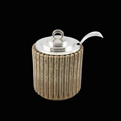 Arne Bang / Villads-nielsen. Fluted Stoneware Jar With Silver Lid And Spoon.