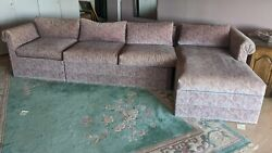 Vintage Pink Paisley Sectional Sofa Design For Sleep New York City 1985 Mint Con