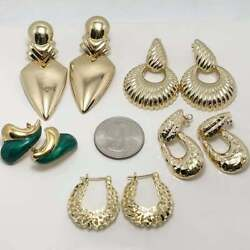 Five Pair Large 14k Yellow Gold Earring Lot 5296