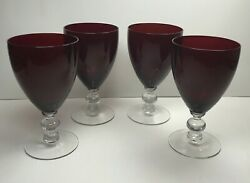 Ruby Red Tapered Footed Set Of Four 8 Oz Wine Glasses With Clear Stem 6 Tall