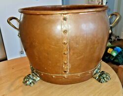 Stunning Extra Large Deep Antique Lion Footed Copper Riveted Planter 41cm Dia