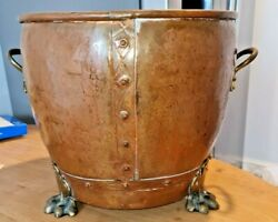 Stunning Large Deep Antique Lion Footed Copper Riveted Planter 35cm Dia