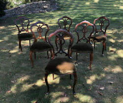 Antique 6 French Upholstered Walnut Dining Chairs C1860 Original Fine Quality