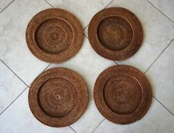 Vintage Wicker Rattan Chargers Brown Woven Plate Holders Table Decor Set Of 4