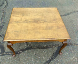 Handmade Queen Anne Style Tiger Maple Coffee Table Unsigned D R Dimes Quality