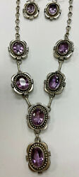 Vintage Navajo Signed Paul Livingston Sterling And Amethyst Necklace And Earrings