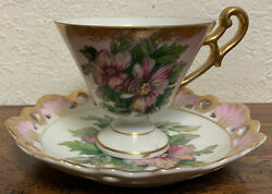 Vintage Lefton Chinahand Paintedcup And Saucer Rose Very Beautiful