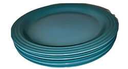 Le Creuset Dinnerware 10 5/8 Plate Caribbean Blue Turquoise 2nd Quality Qty 4