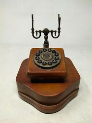 Antique Old Brass Engraved Work Rotary Dial Landline Telephone Without Handset