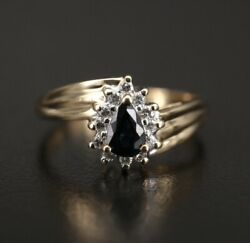14k Saphire And Diamond Halo Ring With Fluted Shoulders Size 6.5