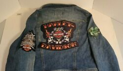 The Limited Women's Blue Jean Jacket Customized 3 Harley Davidson Patches Large