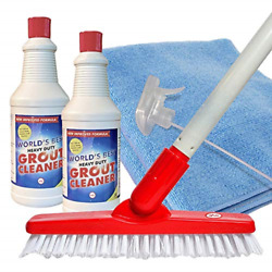 Worldand039s Best Heavy-duty Grout Cleaning Kit   Grout Cleaner Brush Scrubber With