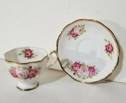 Authentic Queen Anne Bone China Pink Rose Tea Cup And Saucer Made In England