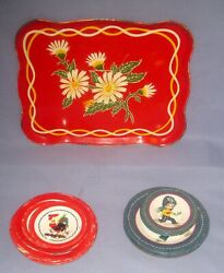 Lot 9 Vtg Tin Metal Litho Mini Children's Toy Tray/plates Rooster/child/flowers