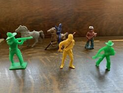 Vintage Tim Mee And Other Action Figure Cowboys With Guns And Indians, Horses