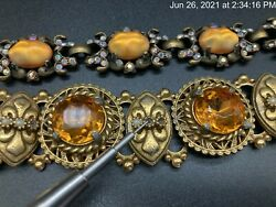 Antique Victorian Book Chain Jeweled Amber Crystal Panel Link Bracelet Lot Of 2
