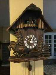 Large Black Forest German Carved 8 Day Musical Cuckoo Clock Team Of Horses L@@k