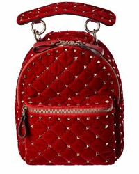 Valentino Rockstud Leather And Velvet Backpack Womenand039s Red