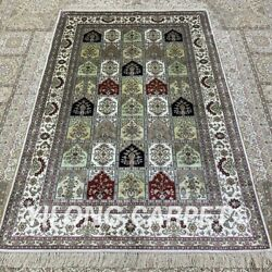 Yilong 4and039x6and039 Four Seasons Handwoven Silk Carpet Kid Friendly Floral Rug H309b