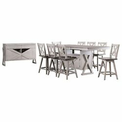 Figaro 10 Piece Counter Height Storage Dining Set Wash Gray Wood Table 8 C...