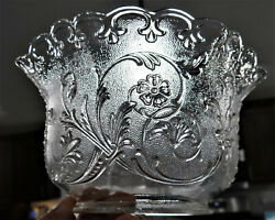 Pressed Glass Floral Daisy Gas Lamp Light Shade 4 Fitter Oil Vtg Antique